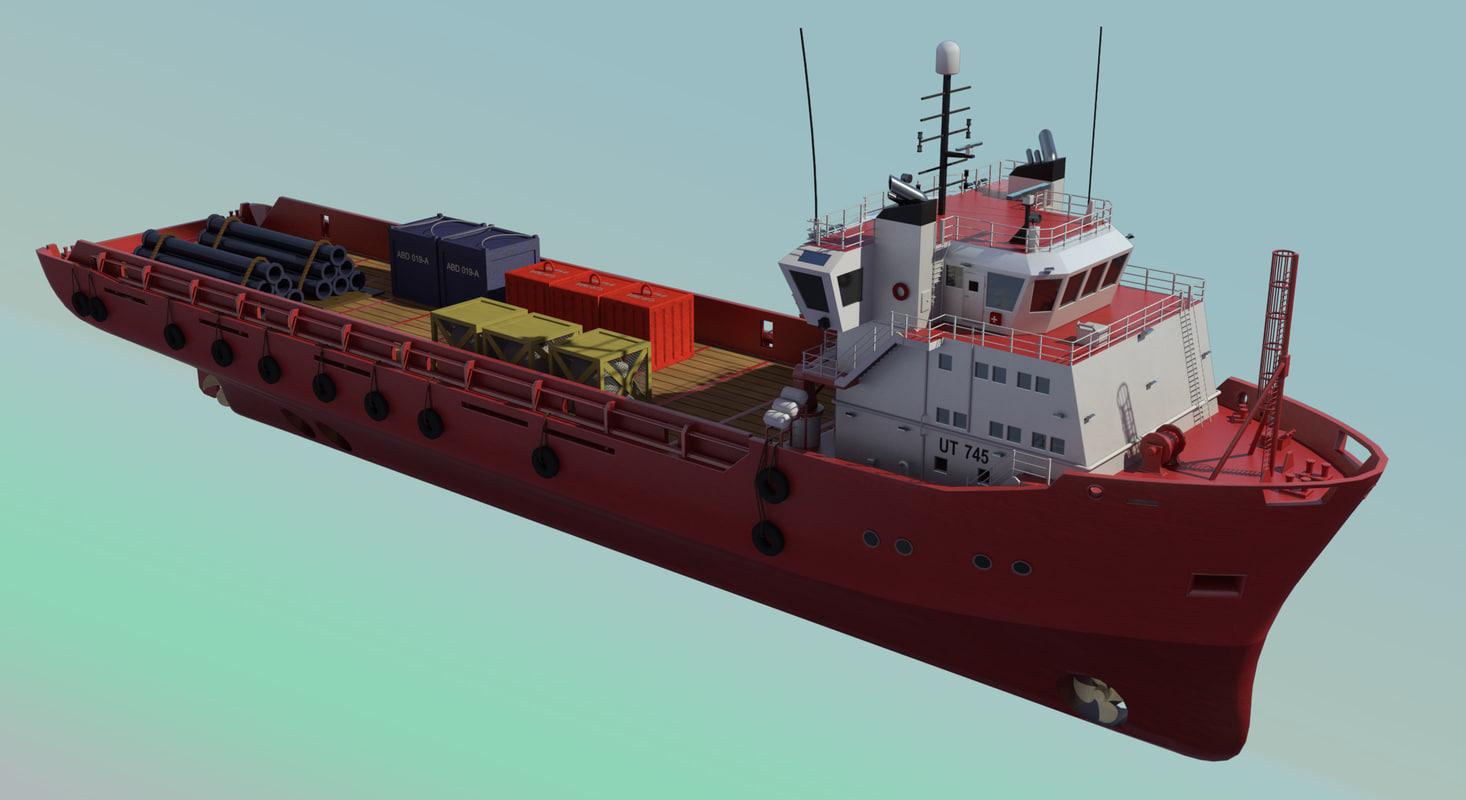 platform supply vessel ut745 3d model