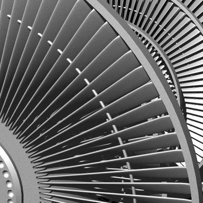 pressure steam turbine rotor 3d lwo