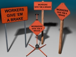 construction signs 3d model