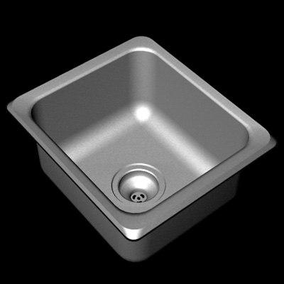 3d steel sink model