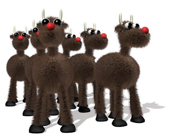3d lwo reindeer santa