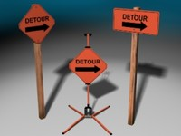 3d construction signs model