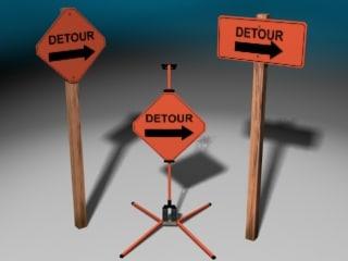 3d construction signs model
