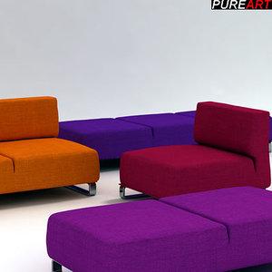 upholstered divan armchair dormeuses 3d model