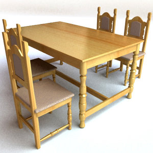 wooden table chairs set 3ds