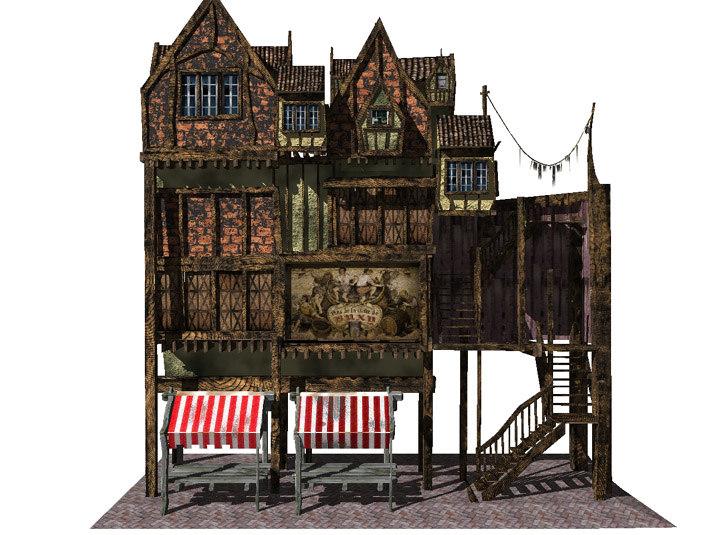 lightwave old house medieval building