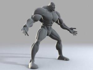 muscular comic male 3d model