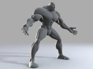 muscular comic body 3d obj