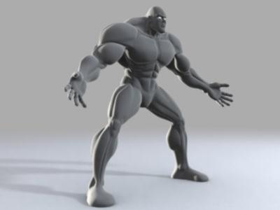 muscular comic body 3d obj