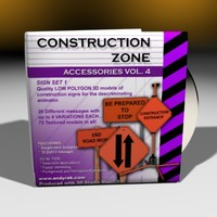 3d 4 construction zone sign