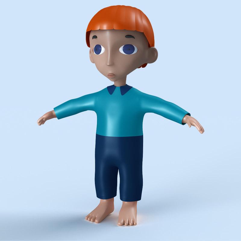 3d child boy model