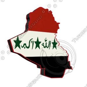 iraq iraqi flag 3d model
