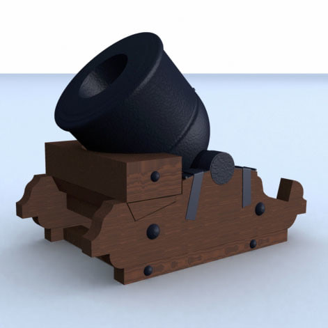 3d french mortar cannon model
