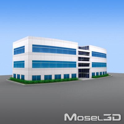 modern office building 3d 3ds