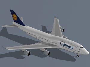 3d model b 747-400 lufthansa
