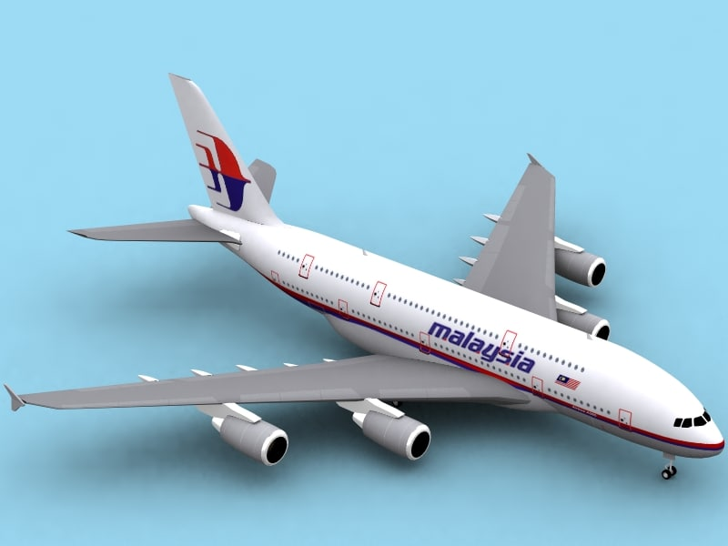 airbus a380-800 malaysia airlines 3d dwg