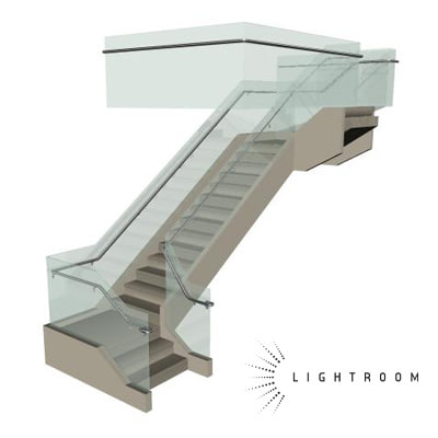 glass staircase 3d model