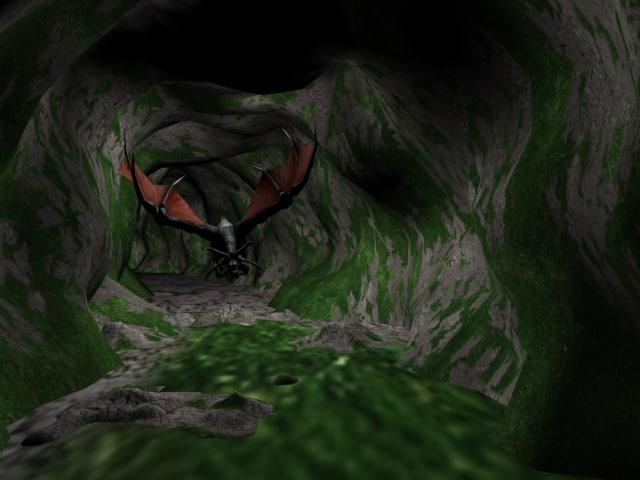 free max model cave scene dragon