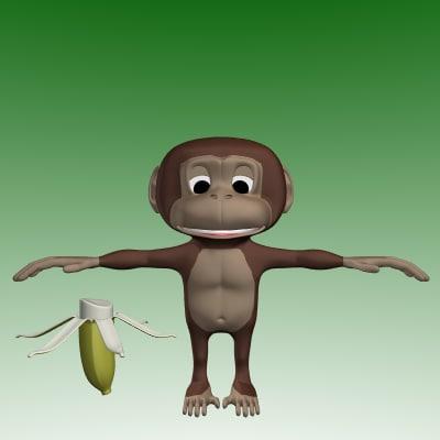 3d model cartoon monkey