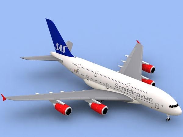3d airbus a380-800 sas a380