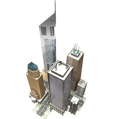 3d model city junction skyscrapers