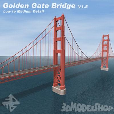 golden gate bridge v1 3d model