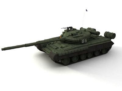 soviet t-80bv tank gun 3d model