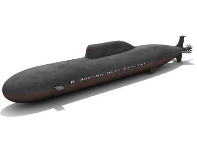 soviet russian akula attack submarine 3d max