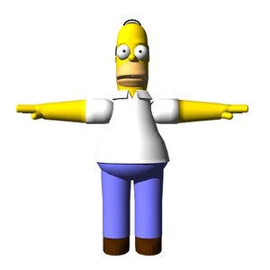 homer simpson skelegons morph targets 3d model