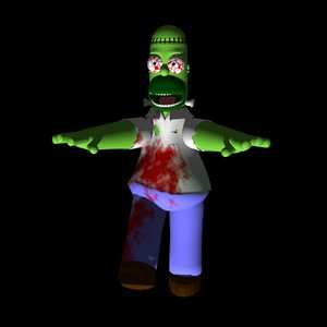 homer simpson skelegons morph 3d model