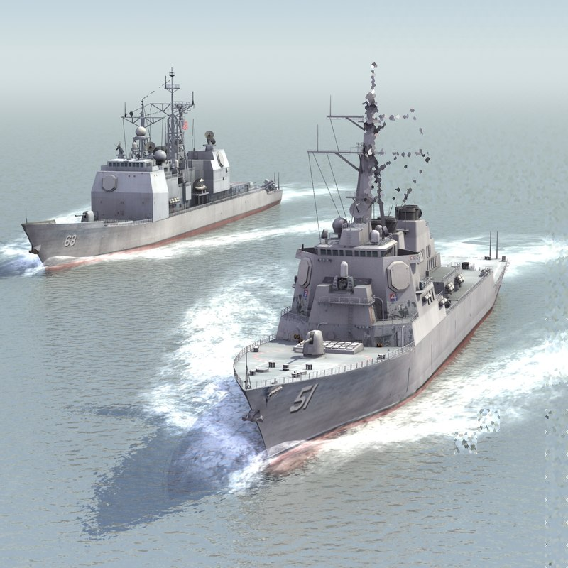 navy ships destroyers warships 3d model