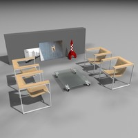 modern interior table 3d 3ds