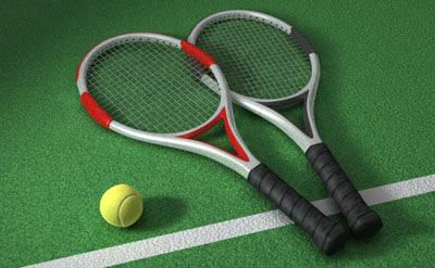 3d model tennis racket ball