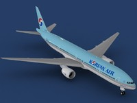 3d model b 777-300 korean air