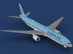 3d model b 777-300 korean air