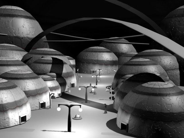 cartoon alien scene city 3d max