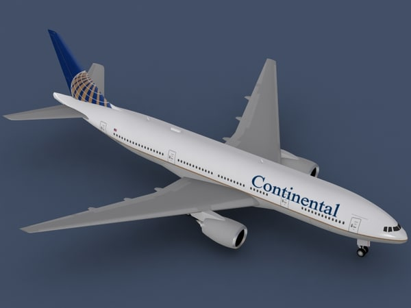 b 777-200 continental airlines 3d max