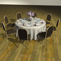 set table chairs 3d model