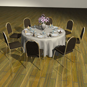 3d set table chairs