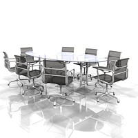 meeting conference table eames chairs 3d lwo