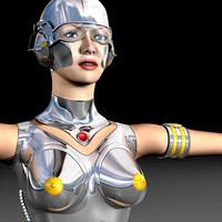 biped cyber character 3d model