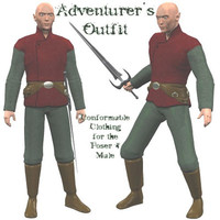 3d male adventure outfit model