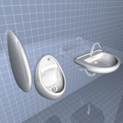 3d urinal bathroom man sink