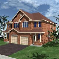 semi detached home 3d model