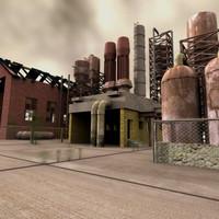 3d model abandoned factory