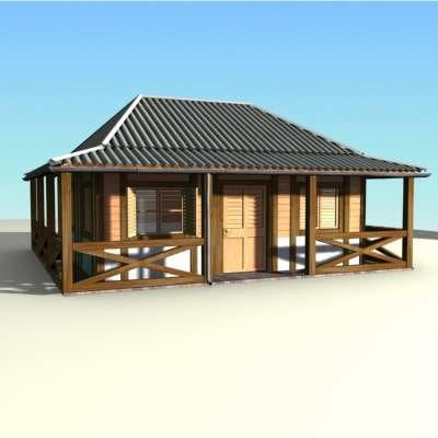 wood caribbean house 3d model