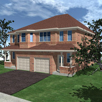 3d semi detached home