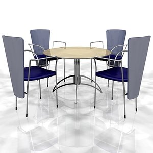 3d model of cafe table chairs