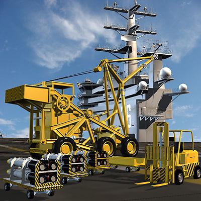 3d deck equipment aircraft carrier model