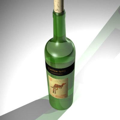 chardonnay wine bottle 3d model